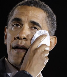Obama trying to control his tears for the loss of his Blackberry while speaking to students at ASU.